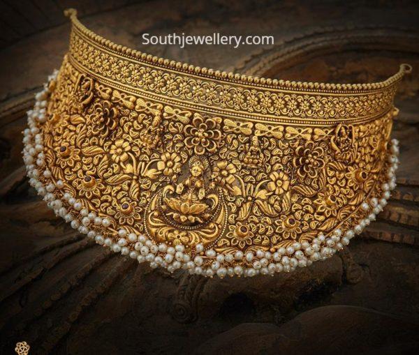 3d antique gold necklace
