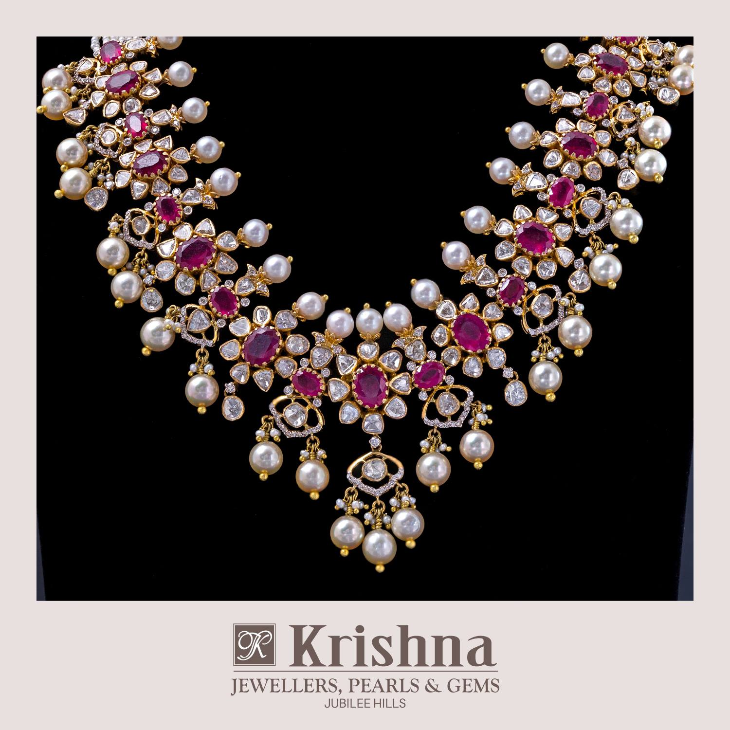 81f442673a1ed Floral ruby polki necklace - Jewellery Designs