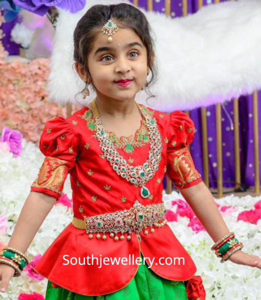 diamond necklace and vaddanam for kids