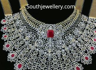 diamond ruby choker bridal