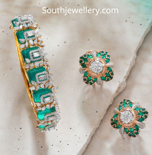 diamond emerald bangle and studs