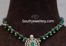 emerald bead necklace with diamond pendant