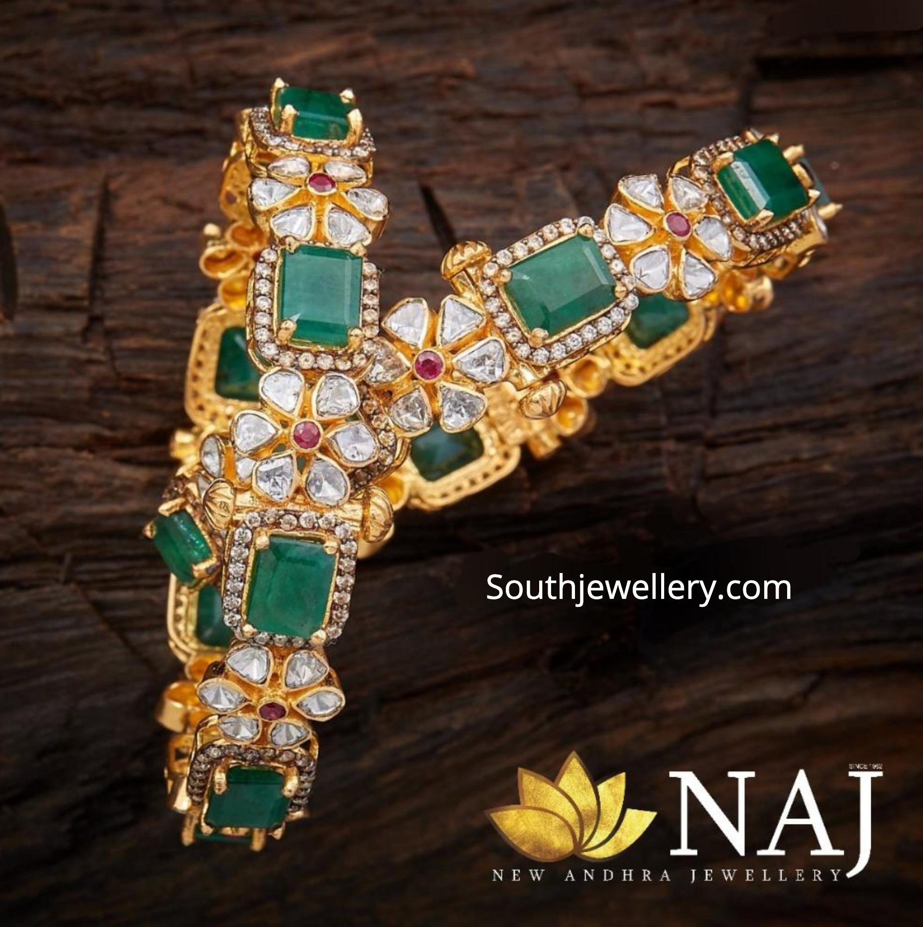 7de923d4580bc Polki diamond and emerald bangles - Jewellery Designs
