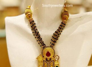 black beads chain with venkateswara pendant