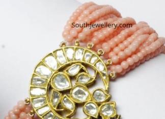 beads choker plus bracelet with polki pendant