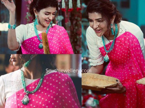 lakshmi manchu emerald necklace set