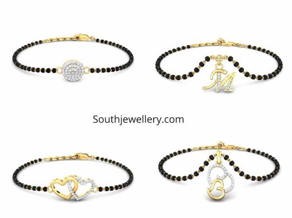 single line mangalsutra bracelet designs
