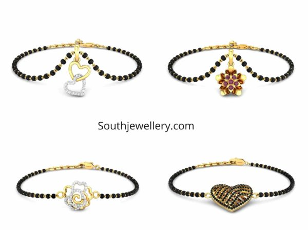 single line mangalsutra bracelet designs by candere by kalyan jewellers