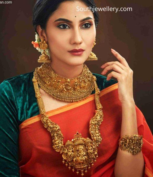 antique gold temple jewellery haram