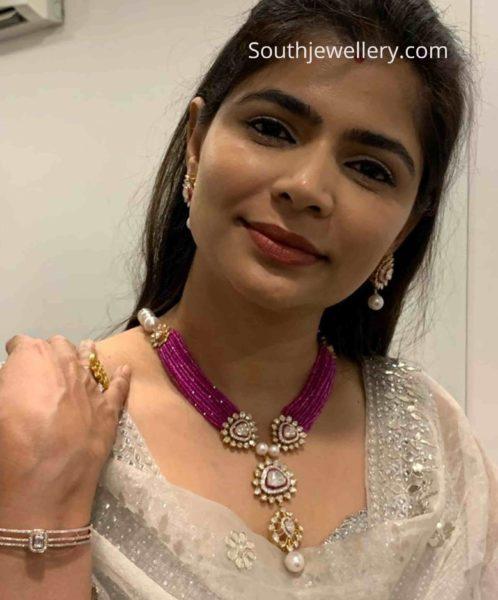chinmayi sripada ruby beads necklace