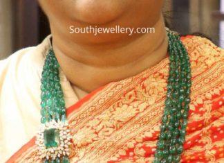emerald beads haram with diamond side pendant