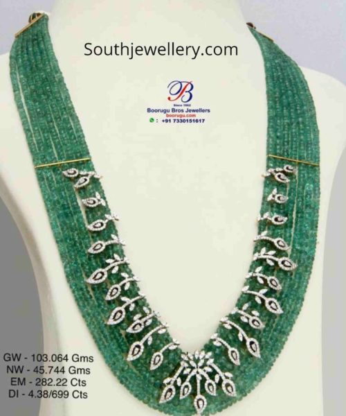 emerald beads mala with diamond motifs