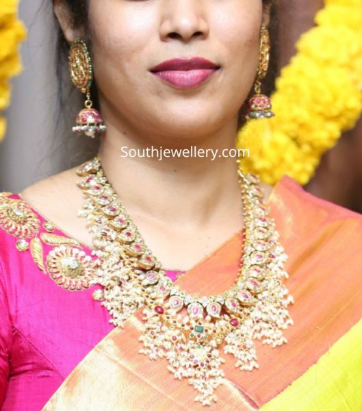 22k gold guttapusalu haram and jhumkas