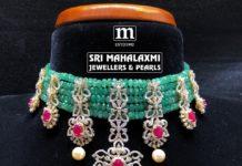 emerald beads and diamond choker