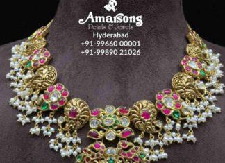 antique gold peacock kundan necklace