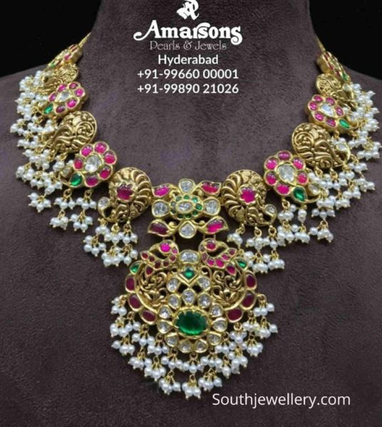 antique gold peacock kundan necklace