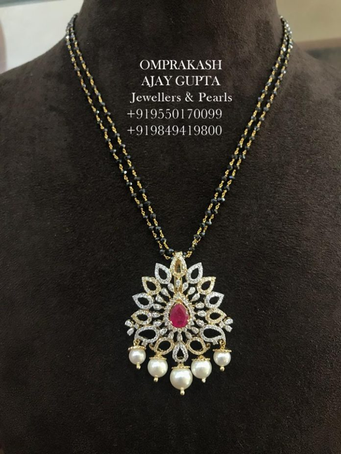 black diamond mangalsutra with pendant (2)