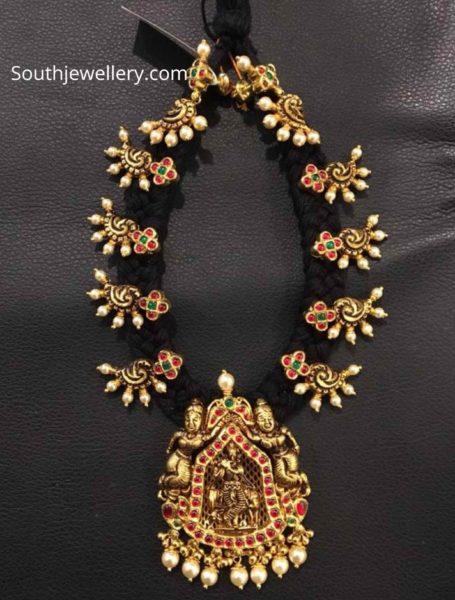 black thread 22 k gold necklace