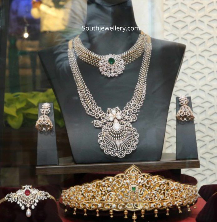 bridal diamond jewellery set by tanishq