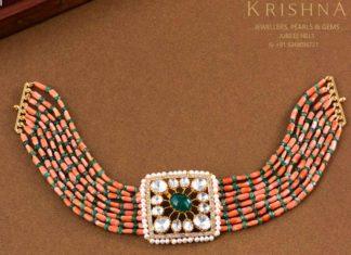 coral beads choker