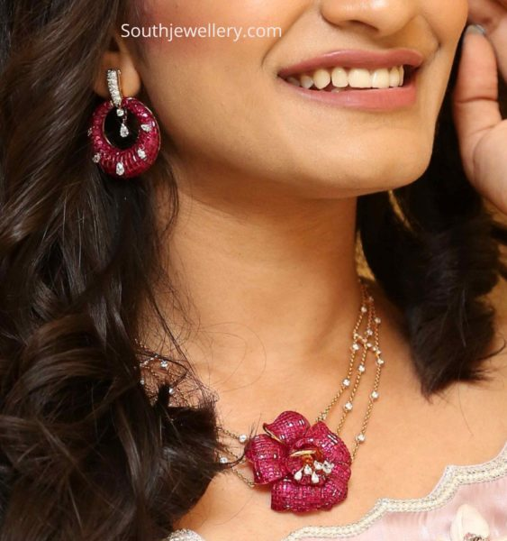 delicate ruby diamond necklace with floral pendant