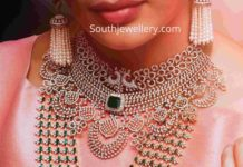 diamond choker and layered diamond emerald haram