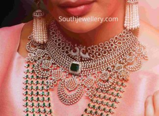 diamond choker and layered diamond emerald haram