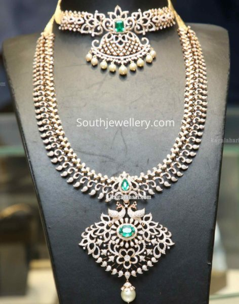 diamond choker and long haram with diamonds and emeralds indian