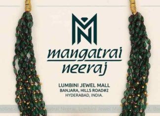 emerald beads mala with kundan pendant