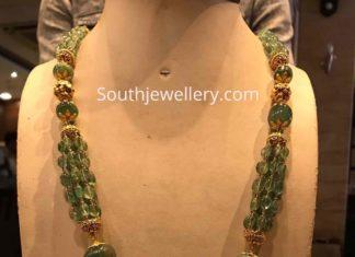 emerald beads mala with radha krishna pendant