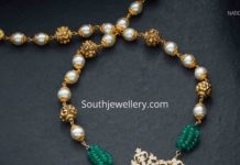 gold nakshi balls necklace with diamond pendant