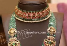 kundan choker and emerald beads mala