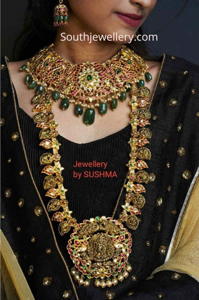 kundan necklace and haram set
