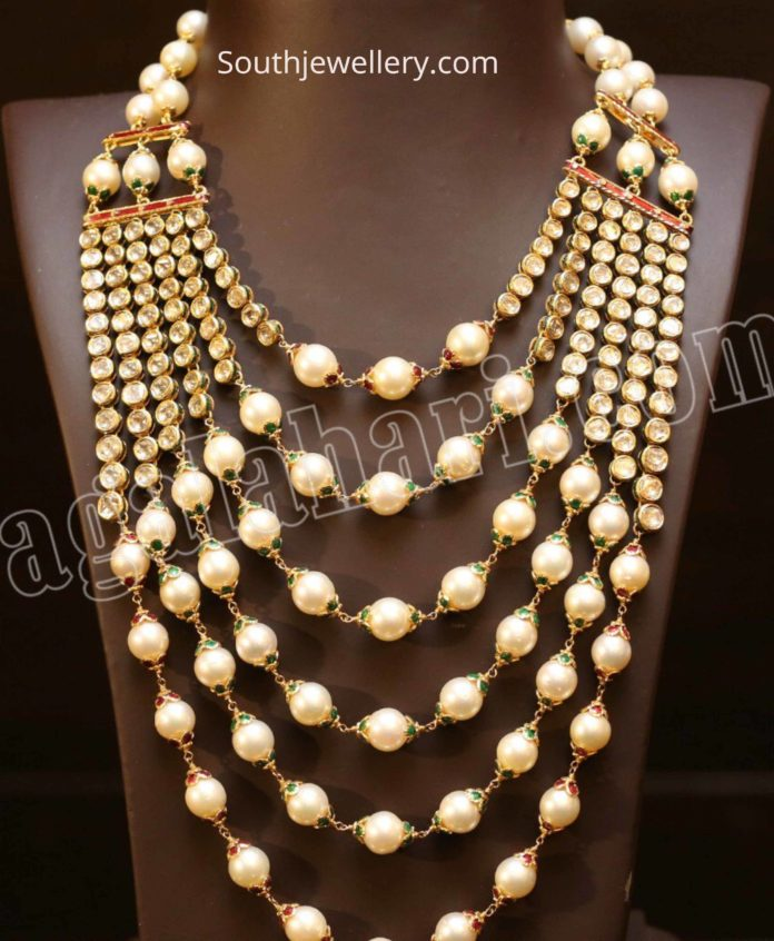 layered polki diamond and south sea pearl haram