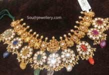 peacock nakshi navrathan necklace