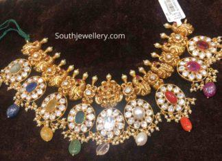 peacock nakshi navrathan necklace