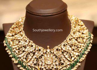 peacock polki diamond jadau necklace