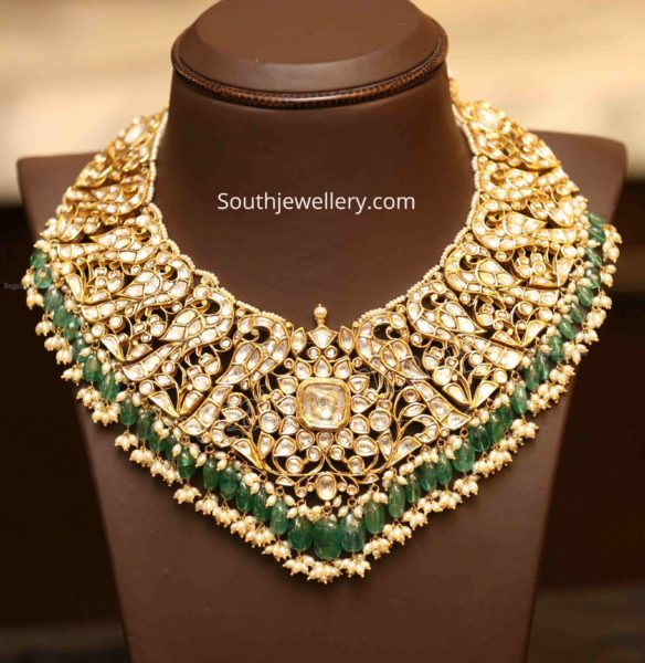 peacock polki diamond jadau necklace