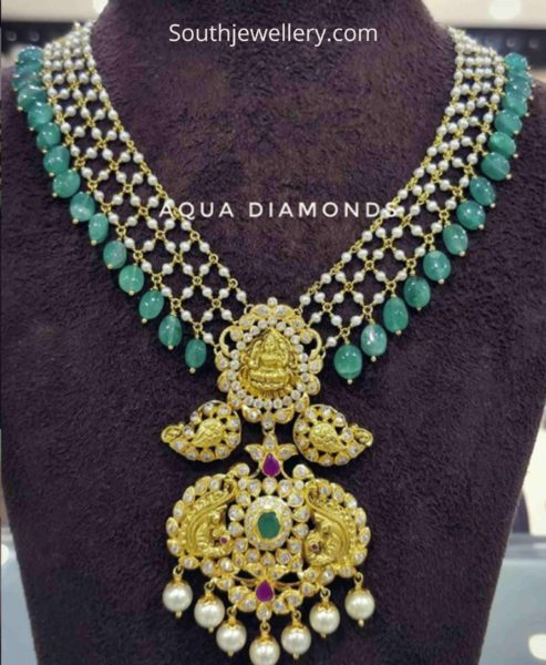 pearl and emerald beads necklace with pendant