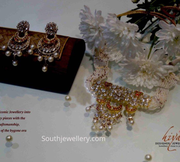 pearl necklace with polki diamond pendant