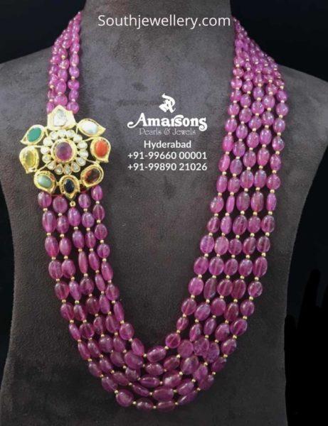ruby beads mala with navratna side pendant