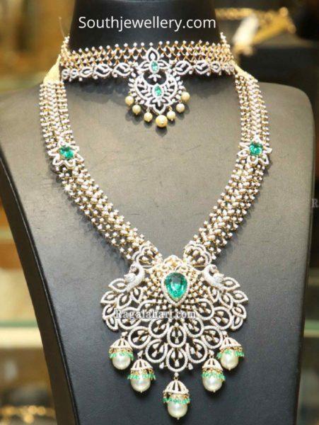 simple diamond choker and long haram