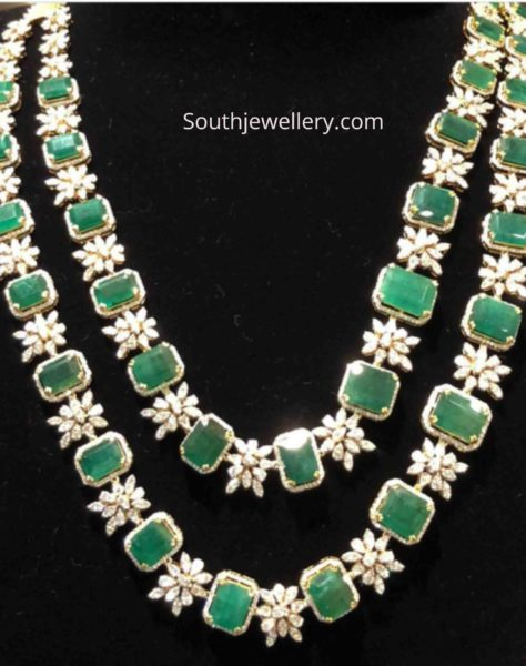 two step diamond emerald necklace
