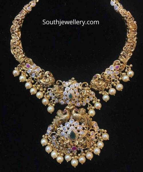 antique gold peacock nakshi necklace