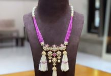 beads necklace with polki tassel pendant