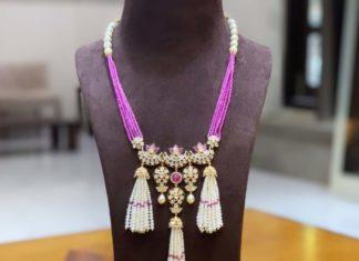 beads necklace with polki tassel pendant