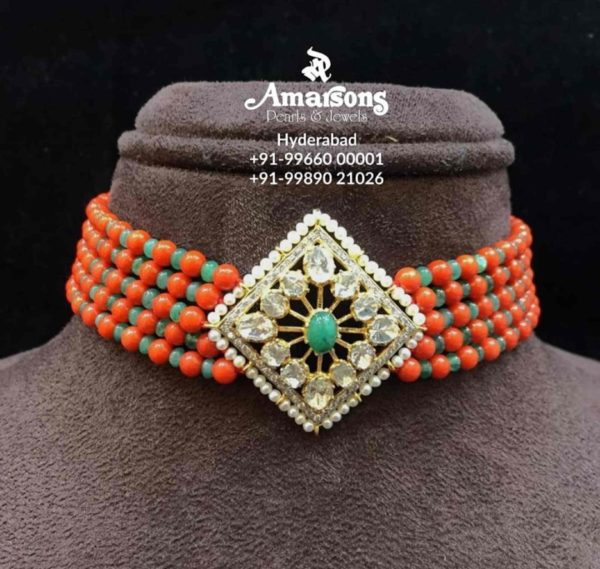 coral beads and emerald beads choker