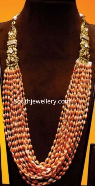 coral beads long necklace