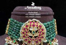 emerald beads choker with kundan pendant (1)