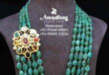 emerald beads haram with navrathan pendant
